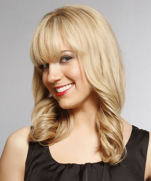 Long Wavy    Blonde   Hairstyle with Blunt Cut Bangs  and  Blonde Highlights - Side View