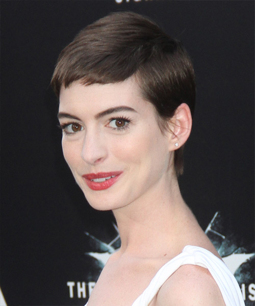 Anne Hathaway Short Straight Casual Layered Pixie  Hairstyle with Side Swept Bangs  - Dark Mocha Brunette Hair Color - Side View