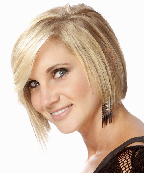 Medium Straight   Light Golden Blonde Bob  Haircut with Side Swept Bangs  and Light Blonde Highlights - Side View