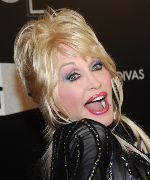 Dolly Parton  Long Straight Casual   Updo Hairstyle with Side Swept Bangs  - Light Platinum Blonde Hair Color - Side View