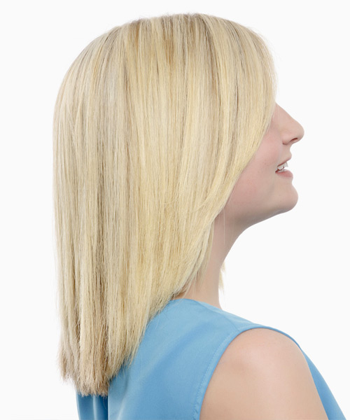 Medium Straight   Platinum   Hairstyle   - Side View