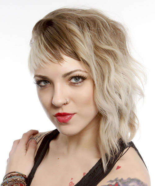Medium Wavy Alternative    Hairstyle with Asymmetrical Bangs  - Light Blonde and Light Brunette Two-Tone Hair Color - Side View