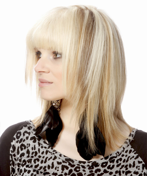 Medium Straight Formal   Hairstyle with Blunt Cut Bangs  - Light Blonde (Bright) - Side View