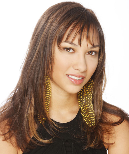Long Straight Casual   Hairstyle with Layered Bangs  - Medium Brunette - Side View