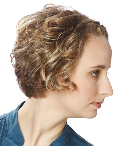 Short Wavy   Dark Caramel Blonde Braided  Hairstyle   with Light Blonde Highlights - Side View