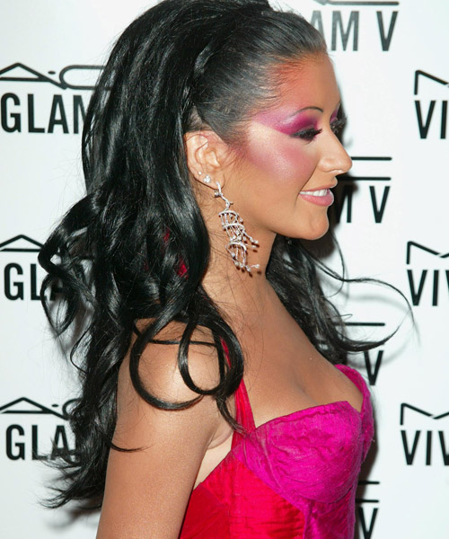 Christina Aguilera Half Up Long Curly Formal  Half Up Hairstyle   - Black - Side View