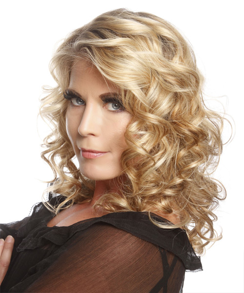 Medium Curly   Golden   Hairstyle   with Light Blonde Highlights - Side View