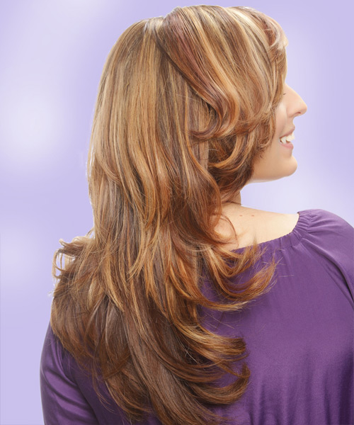 Long Straight    Caramel Brunette   Hairstyle with Side Swept Bangs  and Light Blonde Highlights - Side View