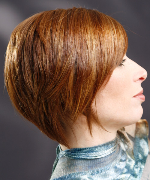 Short Straight Formal   Hairstyle with Side Swept Bangs  (Ginger) - Side View