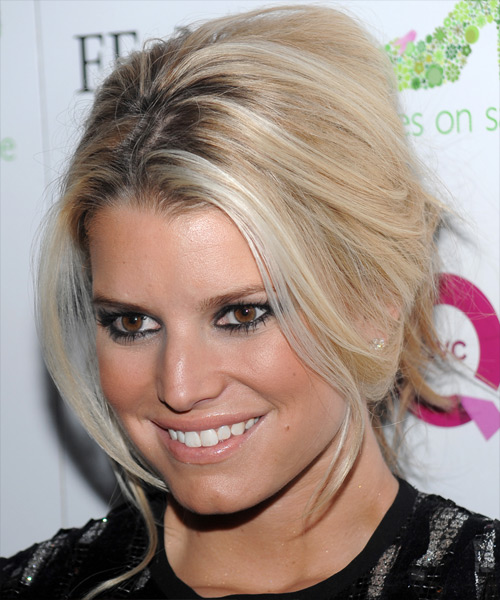 Jessica Simpson Updo Long Straight Casual Wedding Updo Hairstyle   - Medium Blonde (Champagne) - Side View