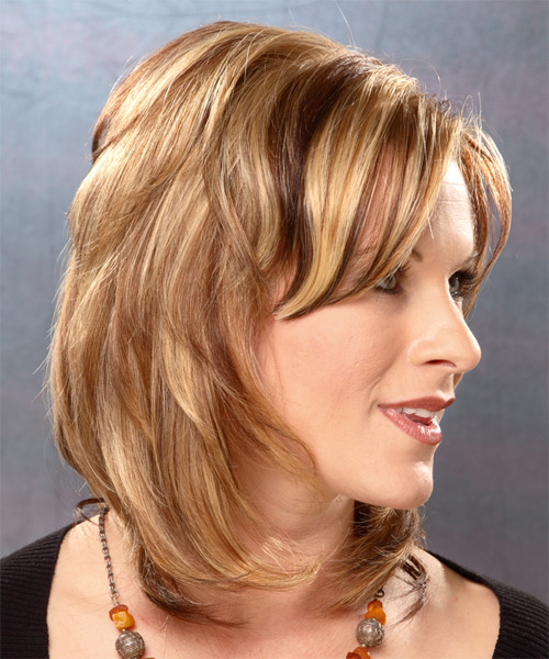 Long Straight   Light Caramel Brunette   Hairstyle   with  Blonde Highlights - Side View