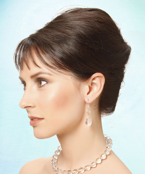 Updo Long Straight Formal Wedding Updo Hairstyle with Blunt Cut Bangs  - Medium Brunette - Side View