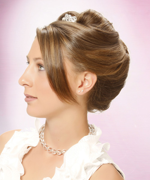 Long Straight Formal   Updo Hairstyle   - Light Caramel Brunette Hair Color with Light Blonde Highlights - Side View