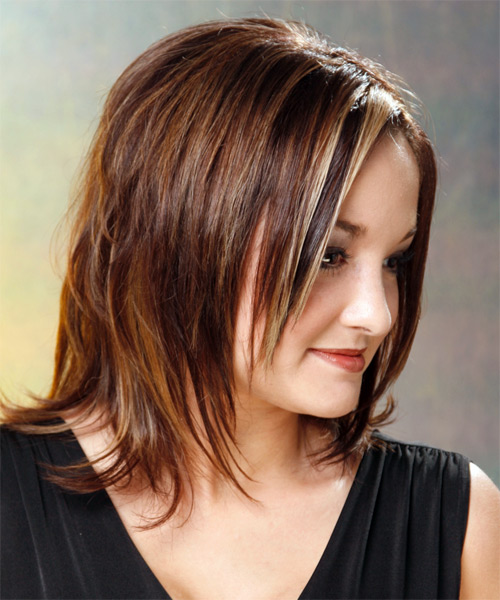 Medium Straight Formal    Hairstyle   - Medium Chestnut Brunette Hair Color - Side View