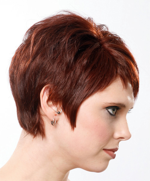 Short Straight Casual    Hairstyle   - Medium Mahogany Red Hair Color - Side View