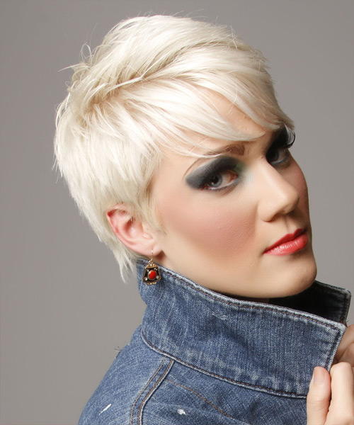 Short Straight   Light Platinum Blonde   Hairstyle with Side Swept Bangs  - Side View