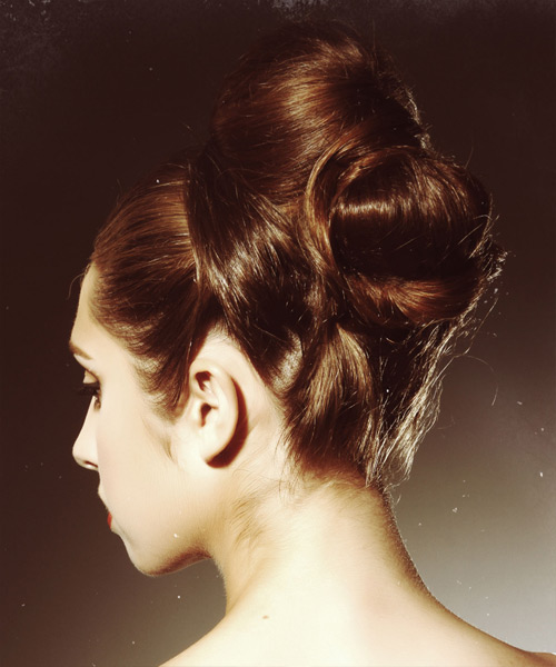 Long Straight    Chestnut Brunette  Updo    - Side View
