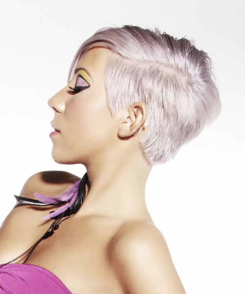 Short Straight   Light Platinum Blonde Asymmetrical  Hairstyle   with Pink Highlights - Side View