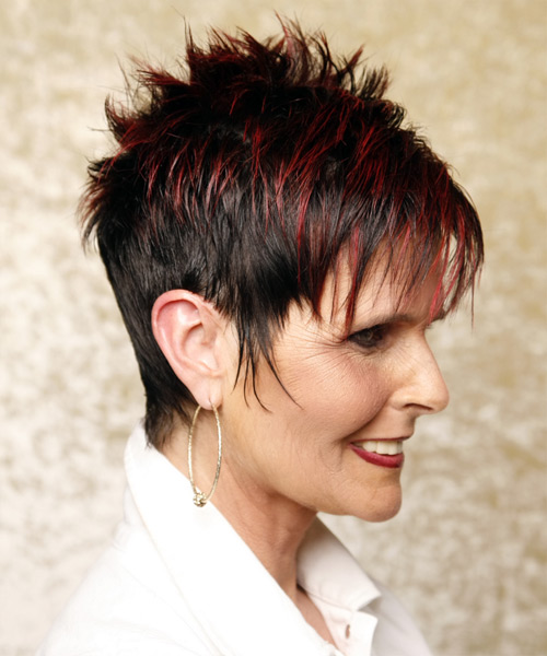 Short Straight Casual    Hairstyle with Razor Cut Bangs  - Black Burgundy  Hair Color - Side View