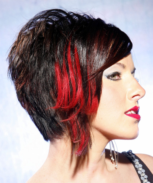 Short Straight Alternative    Hairstyle   - Black Bright  Hair Color - Side View