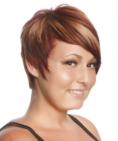 Short Straight Casual    Hairstyle   - Medium Burgundy Red Hair Color with Medium Blonde Highlights - Side View