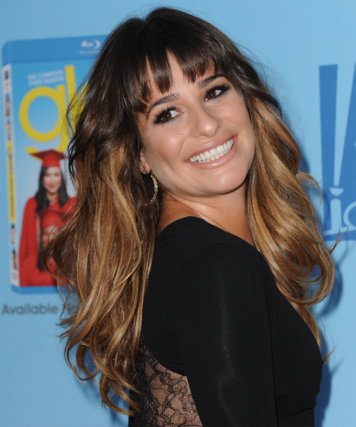 Lea Michele Long Straight Casual   Hairstyle with Layered Bangs  - Medium Brunette - Side View