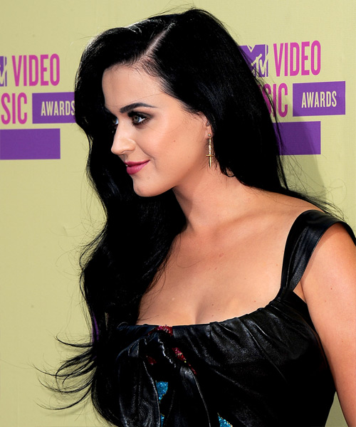 Katy Perry Long Wavy Casual   Hairstyle   - Black - Side View