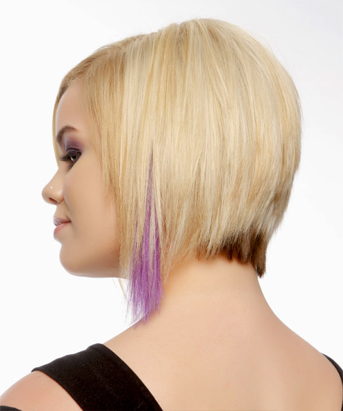 Short Straight Layered   Golden Blonde Bob  Haircut   with Light Blonde Highlights - Side View