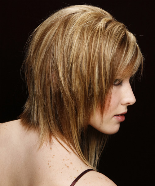 Medium Straight Casual    Hairstyle with Side Swept Bangs  -  Copper Blonde Hair Color with Light Blonde Highlights - Side View