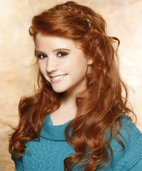 Long Wavy Casual   Hairstyle   - Medium Red (Ginger) - Side View