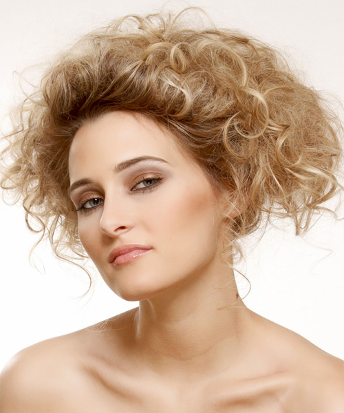 Medium Curly Casual   Updo Hairstyle   - Dark Golden Blonde Hair Color with Light Blonde Highlights - Side View