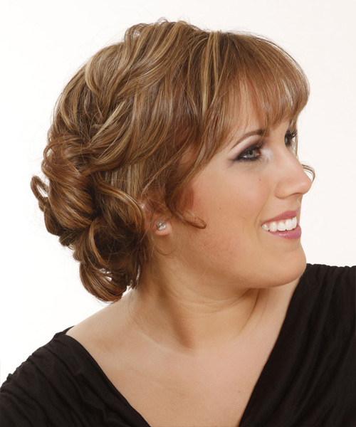 Long Straight Formal   Updo Hairstyle with Blunt Cut Bangs  -  Caramel Brunette Hair Color with  Blonde Highlights - Side View
