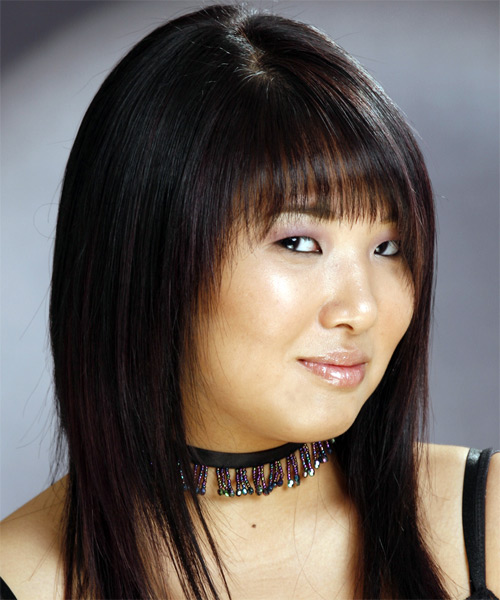 Long Straight Casual   Hairstyle with Layered Bangs  - Black - Side View