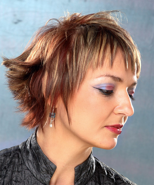 Short Straight Casual    Hairstyle with Layered Bangs  - Medium Brunette Hair Color - Side View