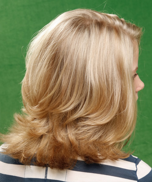 Medium Straight    Golden Blonde   Hairstyle   with Light Blonde Highlights - Side View