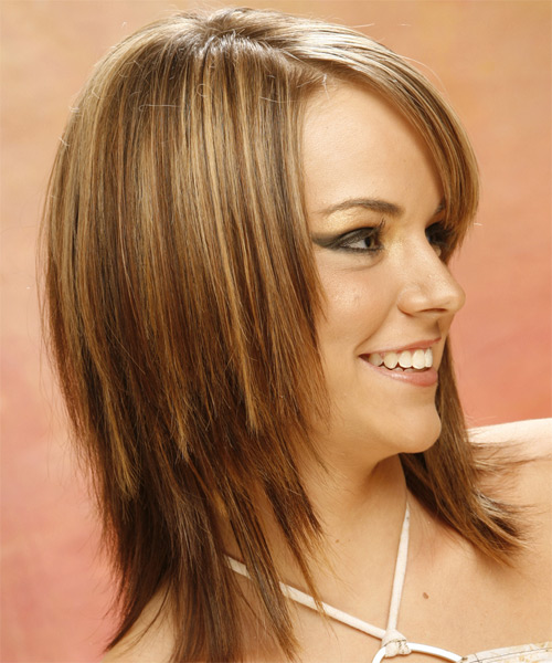 Long Straight Casual   Hairstyle with Side Swept Bangs  - Light Brunette (Golden) - Side View