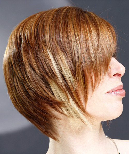Short Straight Casual    Hairstyle with Side Swept Bangs  - Light Ginger Red Hair Color with Medium Blonde Highlights - Side View