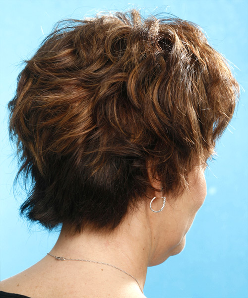 Short Wavy Casual    Hairstyle   - Medium Chestnut Brunette Hair Color - Side View