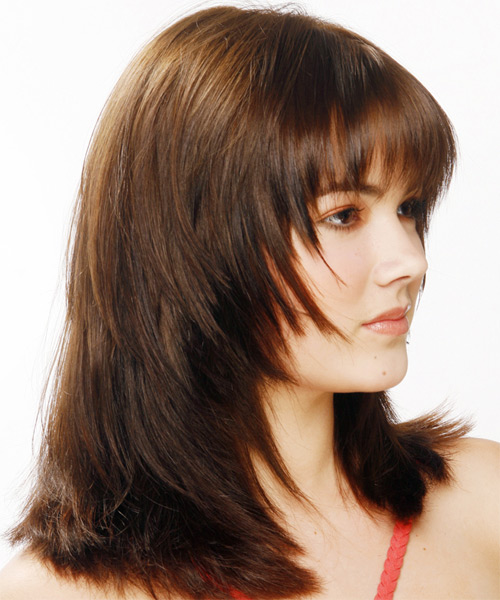 Long Straight Casual   Hairstyle with Layered Bangs  - Dark Brunette (Mocha) - Side View