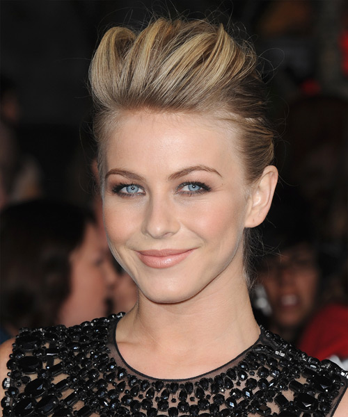 Julianne Hough  Long Straight Casual   Updo Hairstyle   - Dark Blonde and Light Blonde Two-Tone Hair Color - Side View