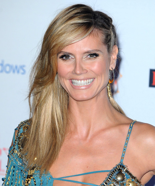 Heidi Klum  Long Straight Casual  Braided Half Up Hairstyle with Side Swept Bangs  - Medium Golden Blonde Hair Color with Light Blonde Highlights - Side View