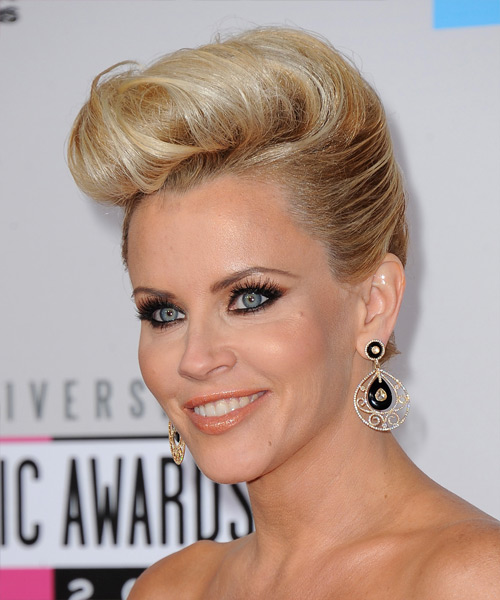Jenny McCarthy  Long Straight Formal   Updo Hairstyle   -  Golden Blonde Hair Color with Light Blonde Highlights - Side View