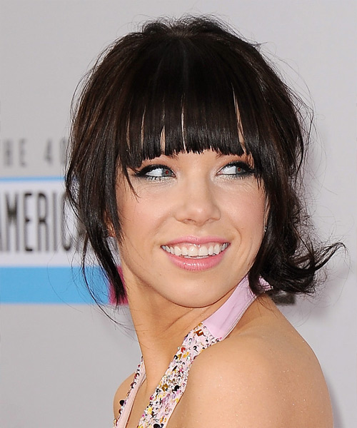 Carly Rae Jepsen Updo Long Curly Formal  Updo Hairstyle with Blunt Cut Bangs  - Dark Brunette (Mocha) - Side View