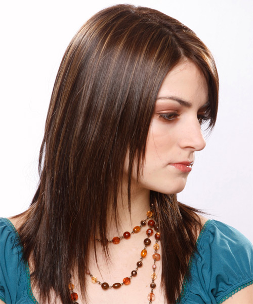 Long Straight   Dark Chocolate Brunette   Hairstyle with Side Swept Bangs  - Side View