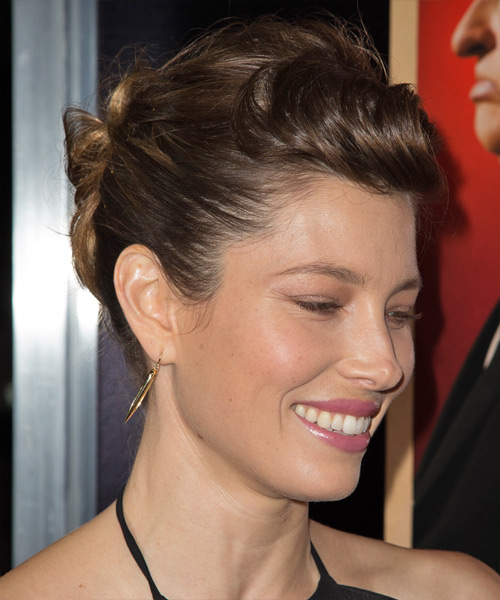 Jessica Biel  Long Straight Formal   Updo Hairstyle   -  Brunette Hair Color - Side View