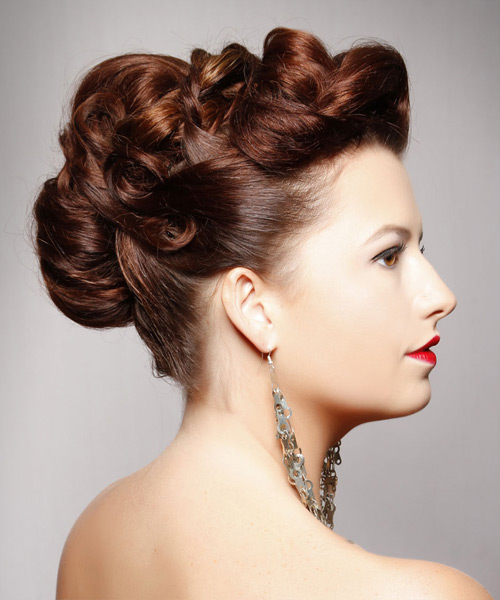 Long Straight Formal   Updo Hairstyle   -  Mahogany Brunette Hair Color - Side View