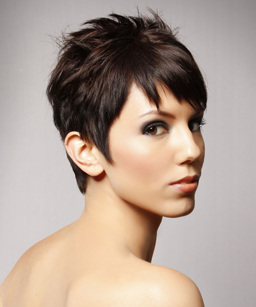 Short Straight Casual    Hairstyle   - Chocolate Hair Color - Side View
