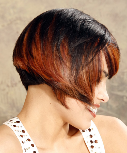 Medium Straight Alternative    Hairstyle with Side Swept Bangs  - Black  and Orange Two-Tone Hair Color - Side View