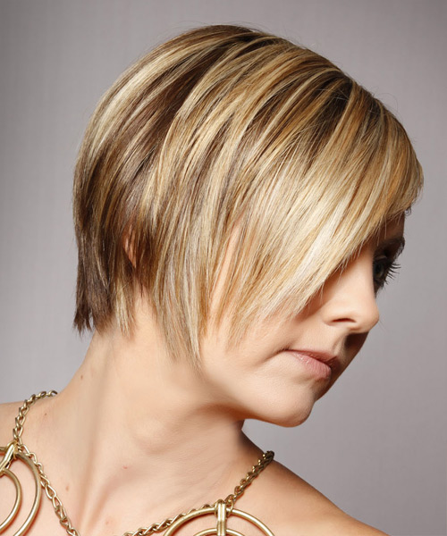 Short Straight Alternative  Asymmetrical  Hairstyle with Side Swept Bangs  - Medium Golden Blonde Hair Color with Light Blonde Highlights - Side View