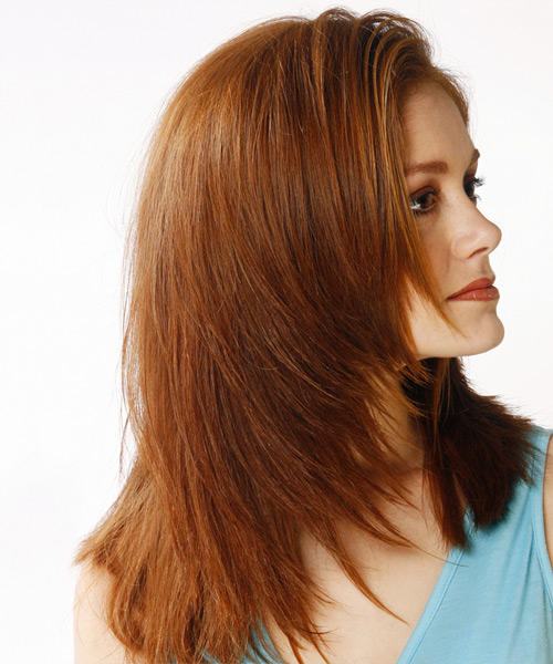 Long Straight    Auburn Brunette   Hairstyle   - Side View